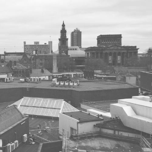 Preston skyline in black and white.
