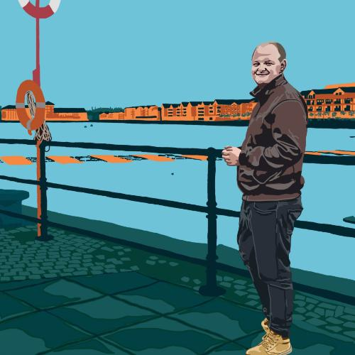 Colourful photograph of man standing at Preston Docks with cartoon-style filter applied.