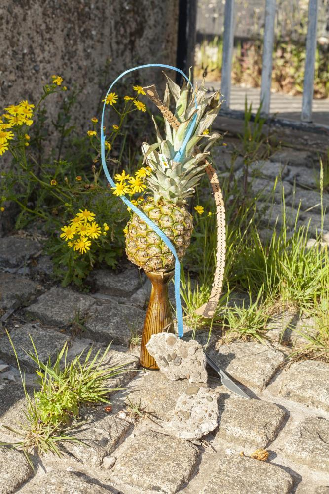Pineapple stood in a vase, arranged by some yellow flowers on a cobbled floor