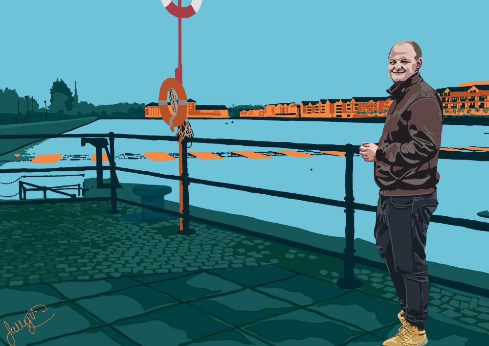 Bold artwork of man standing at Preston docks.