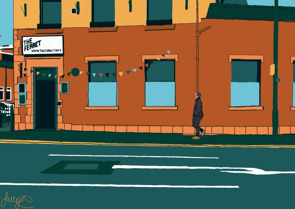 Bold artwork of a man walking past the Ferret bar in Preston