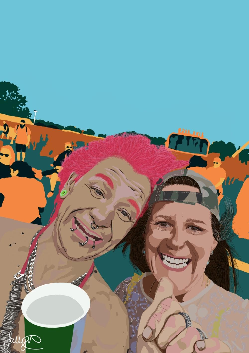 Bold artwork of a woman posing for selfie with a pink-haired man at Rockprest festival