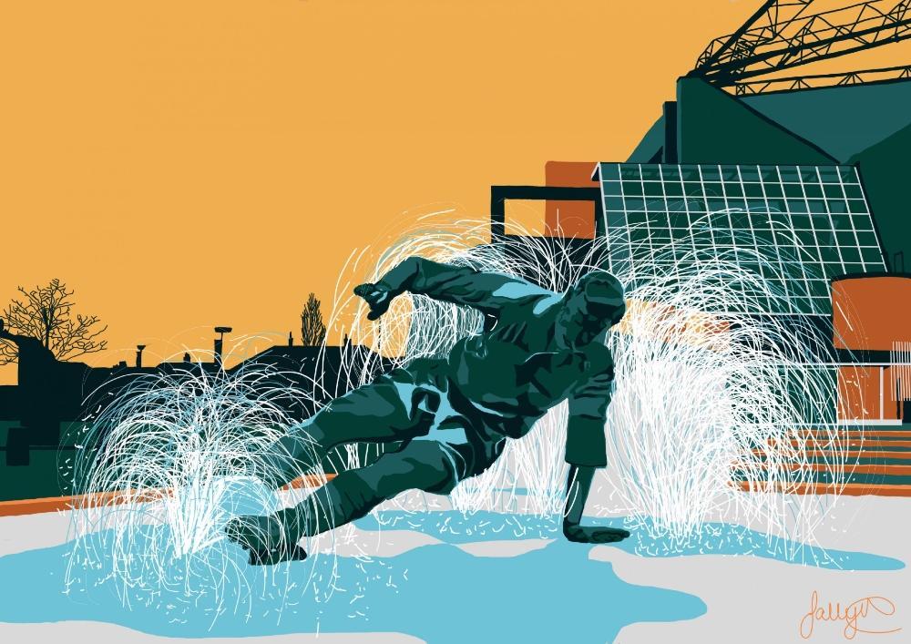Bold artwork of Sir Tom Finney water feature statue at Deepdale Stadium, Preston