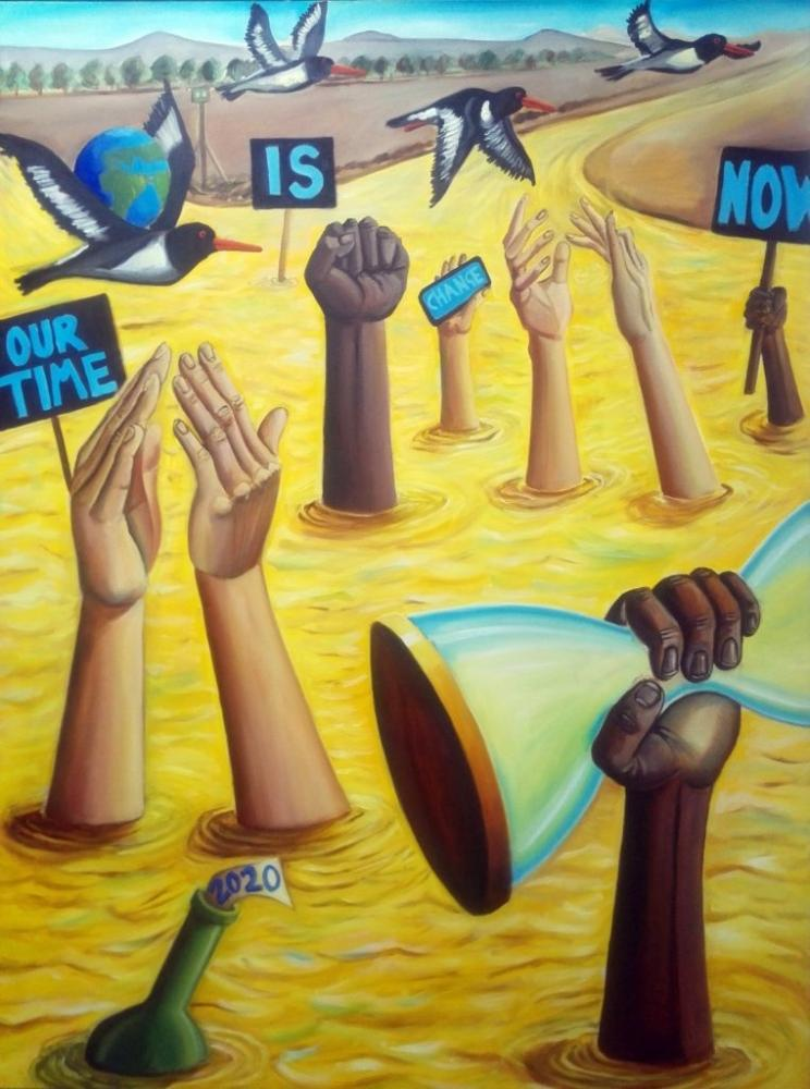 """Painting depicting signs emerging from a yellow river which read """"our time is now"""" and black and white hands emerging from the river, one holding an hourglass and others applauding."""