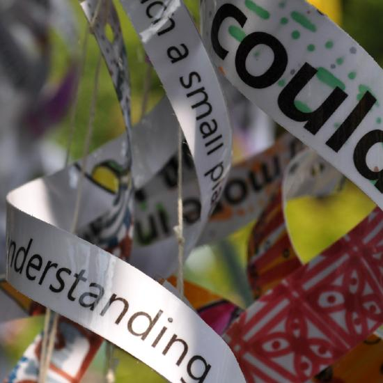 Ribbons with colourful patterns and words.