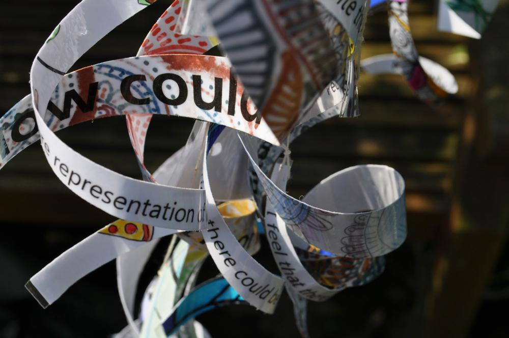Hanging ribbons with words and colourful patterns on.