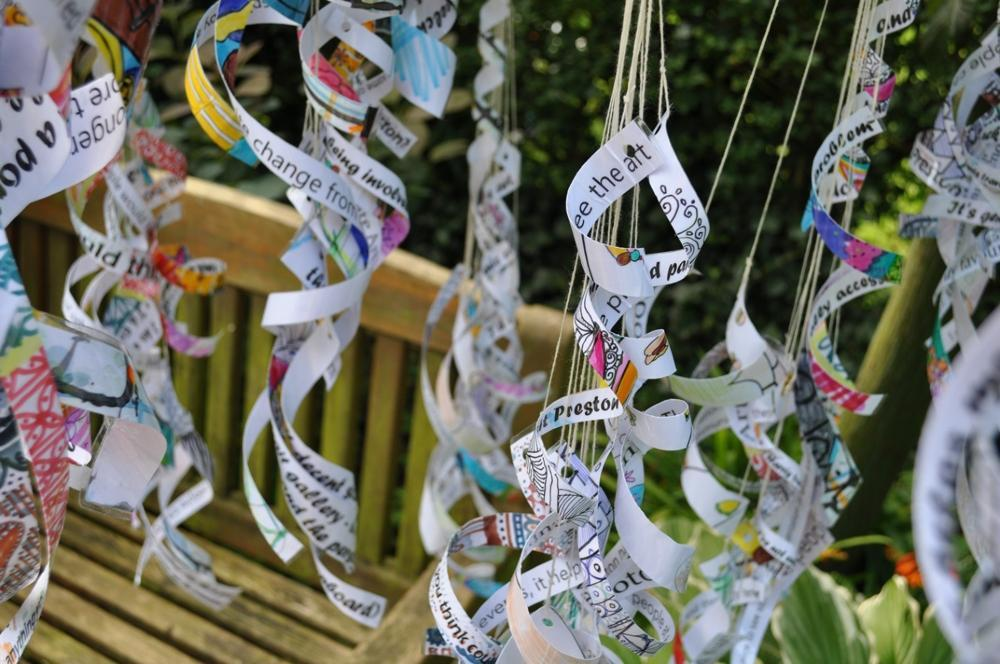 Hanging ribbons with words and colourful patterns on.Hanging ribbons with words and colourful patterns on.
